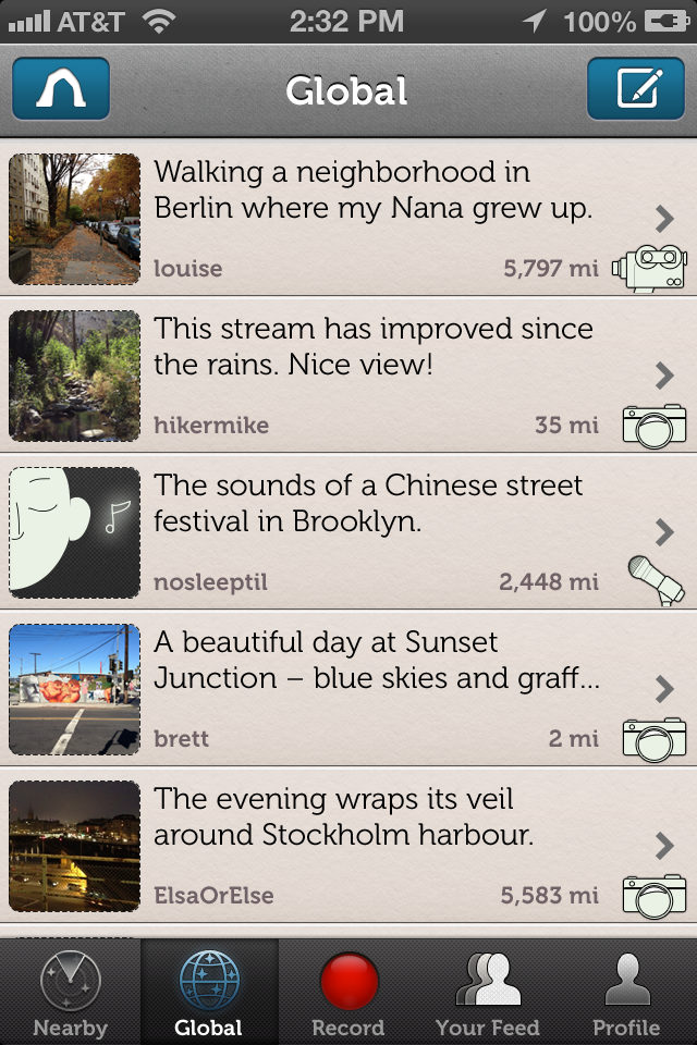 iOS app screenshot - Feed screen