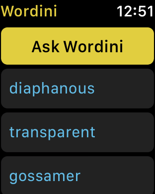 watchOS app screenshot - answers screen