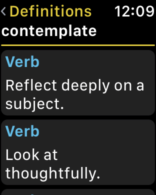 watchOS app screenshot - definitions screen